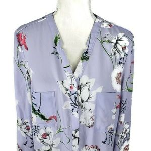 Simply Styled Tops - Simply Styled Lavender Floral Blouse Size Large